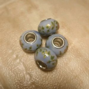 Other - Blue with Gold Floral Print European Bead Charms